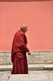 Oude tibetan monnik Stock Foto