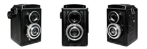 Oude TLR camerareeks die op witte achtergrond wordt geïsoleerd Royalty-vrije Stock Afbeeldingen