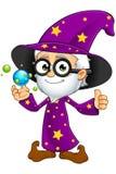 Oude Tovenaar in Purple - met Crystal Balls Stock Afbeelding