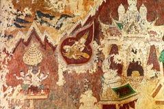 Oude Traditionele Siamese Muurschilderingmuurschilderijen van Recente Ayutthaya-Periode in Wat Pradu Song Tham in de Historische  Stock Afbeeldingen