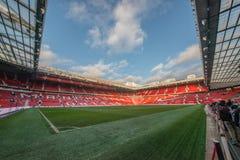 Oude Trafford is naar huis van de club van de Manchester Unitedvoetbal stock afbeeldingen