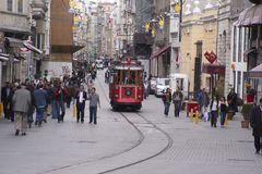 Oude tram in Istanboel Stock Fotografie