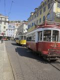 Oude tram in Lissabon, Portugal Stock Afbeelding