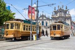 Oude Trams in Porto, Portugal royalty-vrije stock fotografie