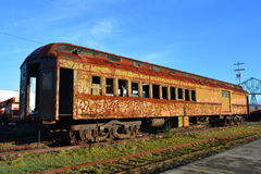 Oude trein in Astoria, Oregon Stock Afbeeldingen