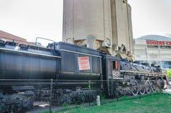 Oude trein bij het Roundhouse-Park in Toronto, Ontario Stock Foto