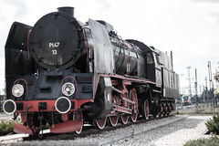 Oude trein in een station Royalty-vrije Stock Foto