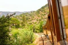 Oude trein in Mallorca voor druk royalty-vrije stock foto