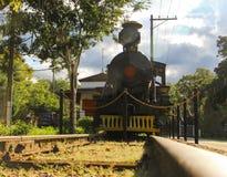 Oude trein in tentoonstelling Stock Fotografie