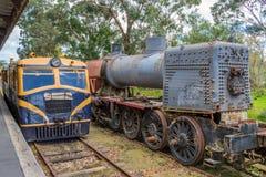 Oude treinen bij Healesville-post 2 royalty-vrije stock afbeelding