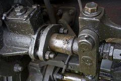 Oude treinmotor Stock Foto's
