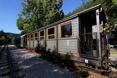 Oude treinwagen in post Royalty-vrije Stock Afbeeldingen