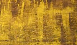 Oude triplextextuur die met gele verf wordt geschilderd Stock Afbeelding