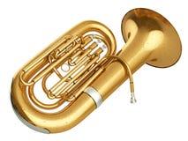 Oude tuba bij het witte 3D teruggeven als achtergrond royalty-vrije stock foto