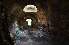 Oude tunnel van Stalin Een deel van de defensielijn van Kiev in WW2 tijd Stock Fotografie