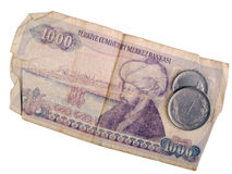 Oude Turkse bankbiljet en muntstukken Royalty-vrije Stock Afbeeldingen
