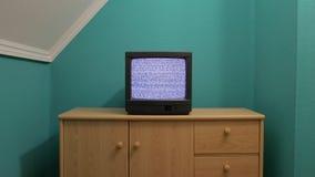 Oude TV geen signaal stock videobeelden