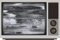 Oude TV met slecht signaal Stock Foto's