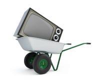 Oude TV van de kruiwagen Stock Fotografie