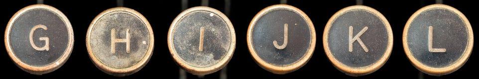 Oude Typerwriter Sleutels g-l Stock Foto