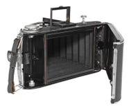 Oude, uitstekende, antieke camera, mening van het achter open binnenmechanisme Royalty-vrije Stock Foto's