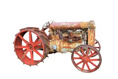 Oude uitstekende antieke geïsoleerde tractor Royalty-vrije Stock Afbeelding