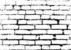 Oude uitstekende bakstenen muur Achtergrond, zwart-wit patroon Vec Royalty-vrije Stock Afbeelding