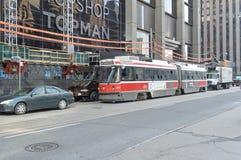 Oude uitstekende Bombardier tram stock foto