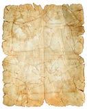 Oude uitstekende document textuur die op wit wordt geïsoleerd Stock Foto