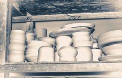 Oude uitstekende foto Helder aardewerk Stock Foto's