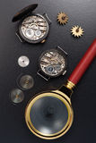 Oude uitstekende horloges Hoogste mening Stock Foto's