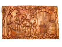 Oude uitstekende houten bas-Hulp Stock Afbeelding