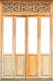 Oude uitstekende houten deur op witte achtergrond 1 Stock Foto
