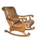 Oude uitstekende houten die schommelstoel op witte achtergrond wordt geïsoleerd Echt leer royalty-vrije stock afbeeldingen