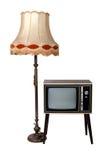 Oude uitstekende houten televisie en lamp Stock Foto