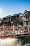 Oude uitstekende Ja Ja of Toyohashi overbrugt in Sawara, Katori, Chiba stock afbeeldingen