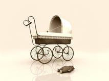Oude uitstekende kinderwagen en teddybear Royalty-vrije Illustratie