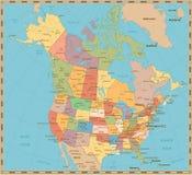 Oude uitstekende kleuren politieke kaart van de V.S. en Canada Royalty-vrije Stock Afbeelding