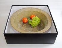 Oude uitstekende kuiper om pan in zwarte doos Stock Afbeelding