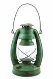 Oude of uitstekende orkaanlamp op witte achtergrond, Materiële corrosie van lampmateriaal Royalty-vrije Stock Foto