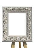 Oude uitstekende overladen witte omlijsting met geïsoleerd patroon Stock Afbeelding