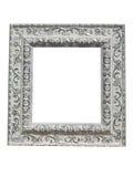 Oude uitstekende overladen witte omlijsting met geïsoleerd patroon Stock Foto