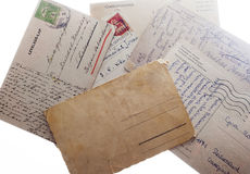 Oude uitstekende prentbriefkaaren Stock Foto's
