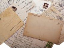 Oude uitstekende prentbriefkaaren Stock Afbeeldingen