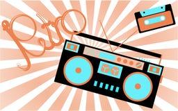 Oude, uitstekende, retro, hipster, antiquiteit, cassette audiobandrecorder en audiocassette van 80 ` s, 90 ` s met een inschrijvi stock illustratie