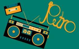 Oude, uitstekende, retro, hipster, antiquiteit, cassette audiobandrecorder en audiocassette van 80 ` s, 90 ` s met een inschrijvi vector illustratie