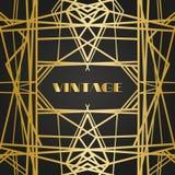 Oude uitstekende retro kaders met lijnen Stijl van jaren '20 Koninklijk gouden premiedecor royalty-vrije stock foto's