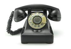 Oude Uitstekende Telefoon op Wit Stock Fotografie
