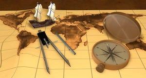 Oude uitstekende varende schip en kaart Royalty-vrije Stock Fotografie
