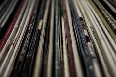 Oude uitstekende vinylinzameling met dekking stock afbeelding